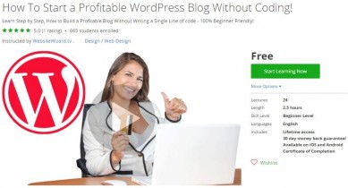 Udemy Coupon – How To Start a Profitable WordPress Blog Without Coding!