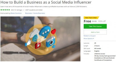 Udemy Coupon – How to Build a Business as a Social Media Influencer