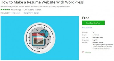 Udemy Coupon – How to Make a Resume Website With WordPress