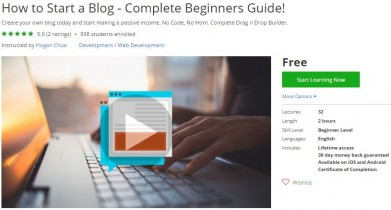 Udemy Coupon – How to Start a Blog – Complete Beginners Guide!
