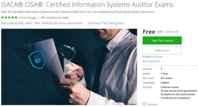 Udemy Coupon – ISACA® CISA®: Certified Information Systems Auditor Exams