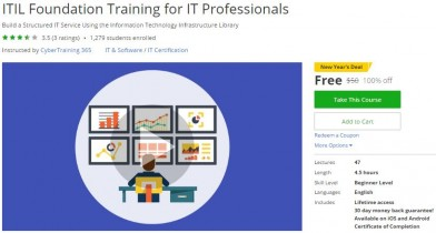 Udemy Coupon – ITIL Foundation Training for IT Professionals