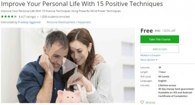 Udemy Coupon – Improve Your Personal Life With 15 Positive Techniques