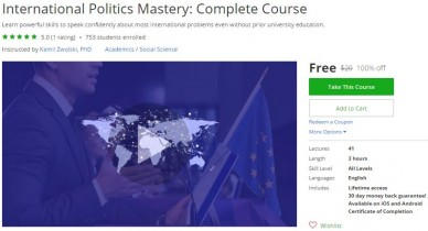 Udemy Coupon – International Politics Mastery: Complete Course