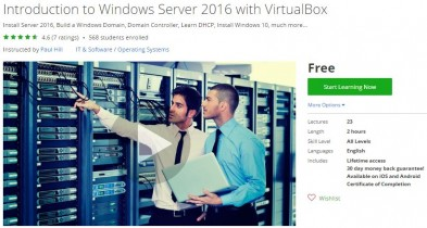 Udemy Coupon – Introduction to Windows Server 2016 with VirtualBox
