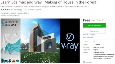 Udemy Coupon – Learn 3ds max and vray : Making of House in the Forest