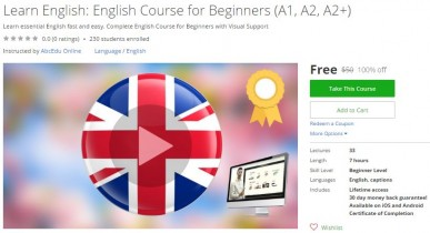Udemy Coupon – Learn English: English Course for Beginners (A1, A2, A2+)