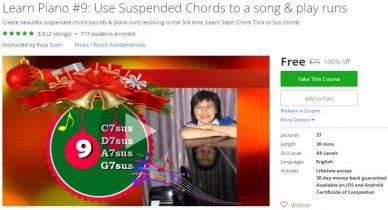 Udemy Coupon – Learn Piano #9: Use Suspended Chords to a song & play runs