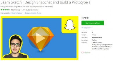 Udemy Coupon – Learn Sketch ( Design Snapchat and build a Prototype )