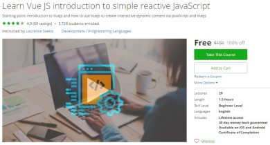 Udemy Coupon – Learn Vue JS introduction to simple reactive JavaScript