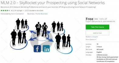 Udemy Coupon – MLM 2.0 – SkyRocket your Prospecting using Social Networks (Update 01/12/2017)