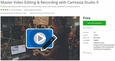 Udemy Coupon – Master Video Editing & Recording with Camtasia Studio 9