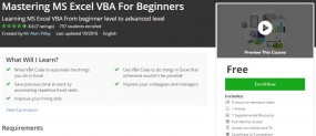 Udemy Coupon – Mastering MS Excel VBA For Beginners