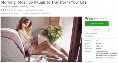 Udemy Coupon – Morning Ritual: 35 Rituals to Transform Your Life