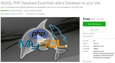 Udemy Coupon – MySQL PHP Database Essentials add a Database to your site