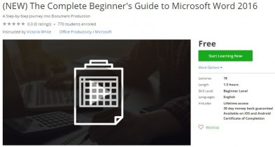 Udemy Coupon – (NEW) The Complete Beginner's Guide to Microsoft Word 2016