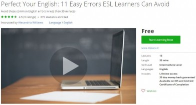 Udemy Coupon – Perfect Your English: 11 Easy Errors ESL Learners Can Avoid
