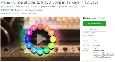 Udemy Coupon – Piano – Circle of 5ths to Play A Song in 12 Keys in 12 Days