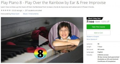 Udemy Coupon – Play PIano 8 – Play Over the Rainbow by Ear & Free Improvise