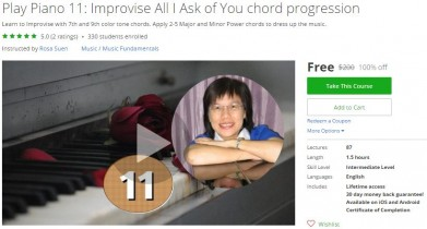 Udemy Coupon – Play Piano 11: Improvise All I Ask of You chord progression