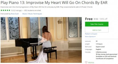 Udemy Coupon – Play Piano 13: Improvise My Heart Will Go On Chords By EAR
