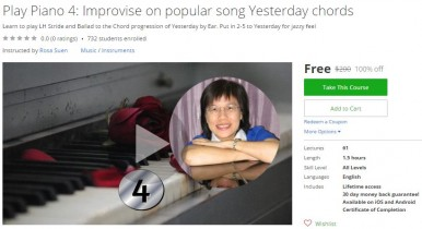 Udemy Coupon – Play Piano 4: Improvise on popular song Yesterday chords