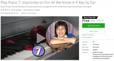 Udemy Coupon – Play Piano 7: Improvise on For All We Know in F Key by Ear