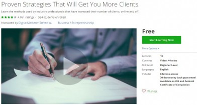 Udemy Coupon – Proven Strategies That Will Get You More Clients