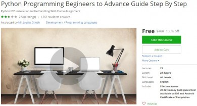 Udemy Coupon – Python Programming Begineers to Advance Guide Step By Step