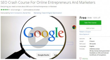 Udemy Coupon – SEO Crash Course For Online Entrepreneurs And Marketers (Update 01/16/2017)