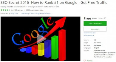 Udemy Coupon – SEO Secret 2016- How to Rank #1 on Google – Get Free Traffic