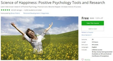 Udemy Coupon – Science of Happiness: Positive Psychology Tools and Research