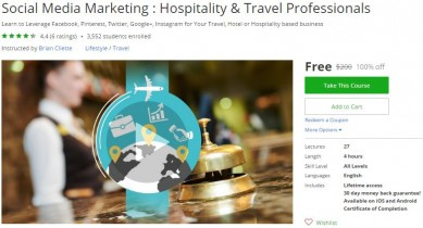 Udemy Coupon – Social Media Marketing : Hospitality & Travel Professionals