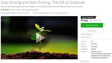 Udemy Coupon – Stop Striving and Start Thriving: The Gift of Gratitude