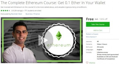 Udemy Coupon – The Complete Ethereum Course: Get 0.1 Ether In Your Wallet