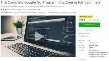 Udemy Coupon – The Complete Google Go Programming Course For Beginners