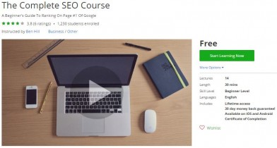 Udemy Coupon – The Complete SEO Course