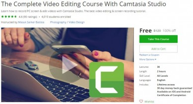 Udemy Coupon – The Complete Video Editing Course With Camtasia Studio