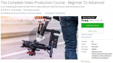 Udemy Coupon – The Complete Video Production Course – Beginner To Advanced
