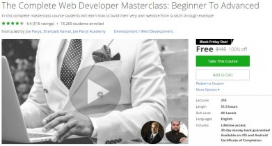 Udemy Coupon – The Complete Web Developer Masterclass: Beginner To Advanced