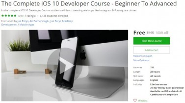 Udemy Coupon – The Complete iOS 10 Developer Course – Beginner To Advanced
