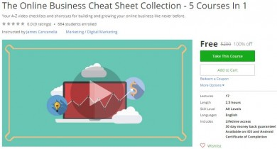 Udemy Coupon – The Online Business Cheat Sheet Collection – 5 Courses In 1
