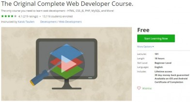 Udemy Coupon – The Original Complete Web Developer Course