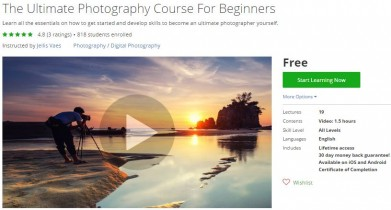 Udemy Coupon – The Ultimate Photography Course For Beginners