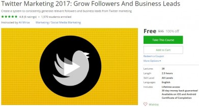 Udemy Coupon – Twitter Marketing 2017: Grow Followers And Business Leads