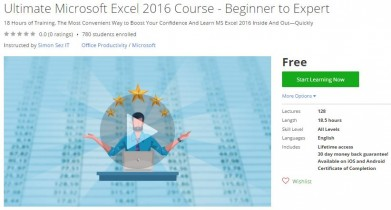 Udemy Coupon – Ultimate Microsoft Excel 2016 Course – Beginner to Expert