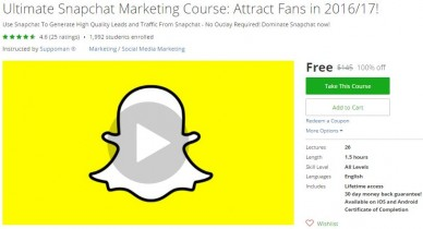 Udemy Coupon – Ultimate Snapchat Marketing Course: Attract Fans in 2016/17!