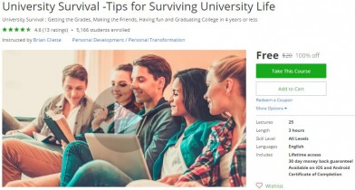 Udemy Coupon – University Survival -Tips for Surviving University Life