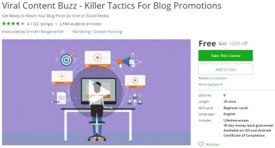 Udemy Coupon – Viral Content Buzz – Killer Tactics For Blog Promotions
