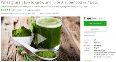 Udemy Coupon – Wheatgrass: How to Grow and Juice A Superfood in 7 Days